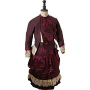 Outstanding Antique Silk Plum Colored Dress Circa 1880s for Child All Original Superb Condition