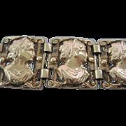 14 Karat Unusual Circa 1900 Gold Cameo Bracelet