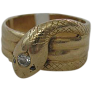 Rare Coiled Snake Ring with Diamond Eyes