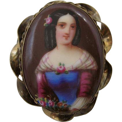 Stunning Hand Painted Portrait Brooch Circa 1840s