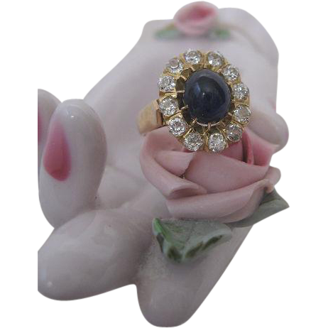 Edwardian Period Natural Sapphire Ring with Diamonds