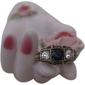 Edwardian Rose Gold and Sapphire and Diamond Ring
