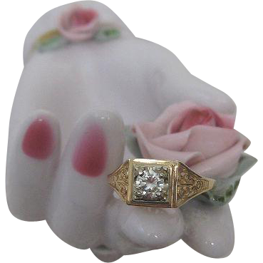 Gorgeous Art Deco Gold Ring Set with Stunning Brilliant Diamond
