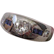 1930s Art Deco Sapphire and Diamond Ring 18 Karat White Gold