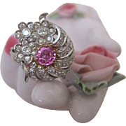 Natural Pink Sapphire and Diamond Ring Set in Platinum 1920s Floral Design