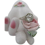 Impressive Art Deco Diamond Ring Large Diamond Tremendous Sparkle