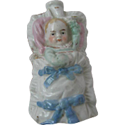 Rare Antique Glossy Bisque Porcelain Swaddled Baby Perfume Bottle