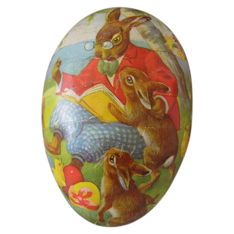 German Vintage Papier Mache Easter Egg Candy Container