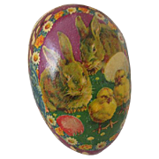 Vintage German Papier Mache Easter Egg Candy Container with Bunnies and Chicks Paper Lace
