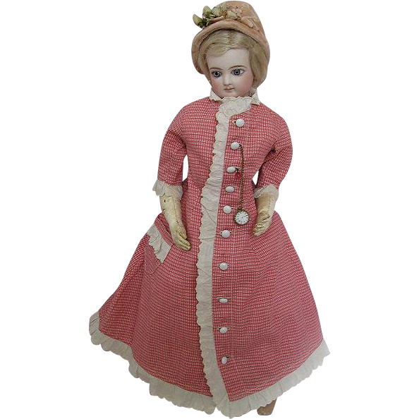 Circa 1875 Jumeau French Fashion Antique Doll Gorgeous Face Lovely Condition with Accessories