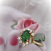 Brilliant Tzavorite Emerald Green Ring with Diamonds