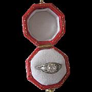 Vintage 18 Karat White Gold Diamond Pinkie Ring Size 3 Half Carat Plus