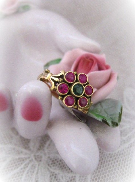 Victorian Emerald and Ruby Antique Ring Flower Shape
