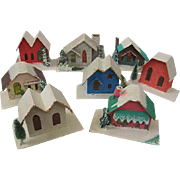 "Fabulous Vintage Set of ""Putz"" Cardboard Houses Japan Christmas Holiday"