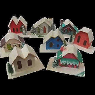 "Fabulous Vintage Set of ""Putz"" Cardboard Houses Japan Christmas Holiday"