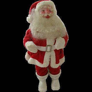 Charming Vintage Santa Clause Figure Circa 1960s Red Velour Suit All Original