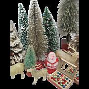 Assortment of Vintage Christmas Decorations, Reindeer,Balls, Trees, Santas