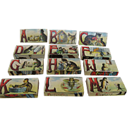 Fabulous Antique Stacking Alphabet Blocks Lithographed Pictures Circus, Pets Doing Human Chores
