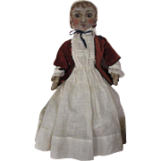 New England Cloth Folk Art Rag Doll 1880s Painted Face One of a Kind