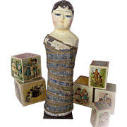 Circa 1800-1850 French Carton Papier Mache Mummy Poupée Doll Rattle Displayed in Santa Barbara Museum of Art Since 1940s