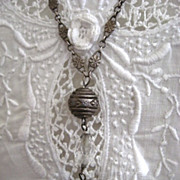 Silver and Czech Glass Necklace Circa 1920s Art Deco