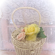 Sweet Vintage Shabby Wicker Mini Basket with Pink and Yellow Flowers