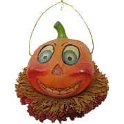 Circa 1920s Fancy Jack O Lantern with Store Label and Crepe Ruffle