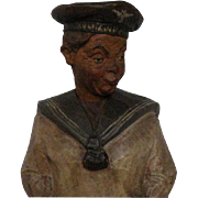 Black Forest Carved Wood Navy Man Turns Head, Whistles Automaton Griesbaum