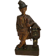 Extremely Rare Blackforest Whistler Automaton with Working Clock Circa 1920s-1930s