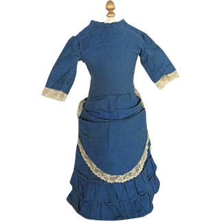 Lovely Antique Sapphire Blue Dress for French Fashion Doll or China Doll with Leather Body