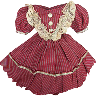 Cranberry Pinstripe  Dress for Early Small Enfantine Fashion 1860's Doll