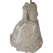 Exquisite Silk Dress Lavishly Decorated with Lace and Ribbon for French Fashion Doll