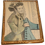 Antique Doll or Dollhouse Miniature Picture in Ormolu Metal Frame