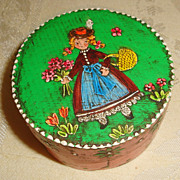 Vintage German Doll Size Hand Painted Wood Box - Girl with Basket Flowers