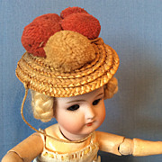 Antique German Doll Straw Hat Black Forest