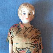 Antique German Bisque Dollhouse Doll with Bun