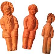 3 Miniature German Doll Clay Frozen Charlotte type