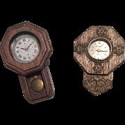 2 Vintage Miniature Wall Clocks for Doll or Dollhouse