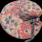 Vintage Printed Cloth Doll Hat Bonnet
