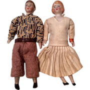 2 German Bisque All Original Antique Dollhouse Man Molded Socks and Woman Couple