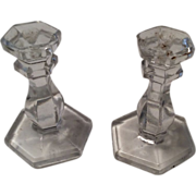 Glass Crystal Candlestick Doll Candle Holder Set