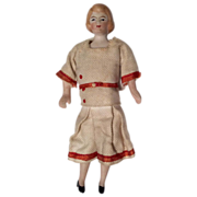 Antique All Original German Bisque Dollhouse Doll Great Outfit