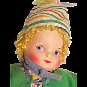 Vintage Georgene Cloth Doll All Original Wood Shoes