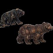 2 Vintage Bear Black & Brown for Doll or Dollhouse