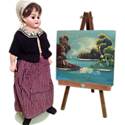 Original Vintage Miniature Dollhouse or Doll Size Painting on Canvas