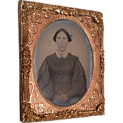 Antique Miniature Ormolu Frame Tintype Photograph Woman in Covered Wagon China Hair for Doll or Dollhouse Picture Portrait