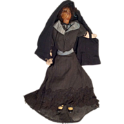 Victorian Mourning Suit Doll Clothes Antique Cloth Body Compo Chunky Legs and Wax Head - Red Tag Sale Item