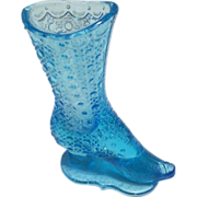 1880s Victorian Miniature Boot Bouquet Holder Antque Blue Glass Bud Vase