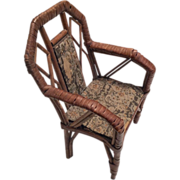 Antique Wicker and Wood Doll Chair
