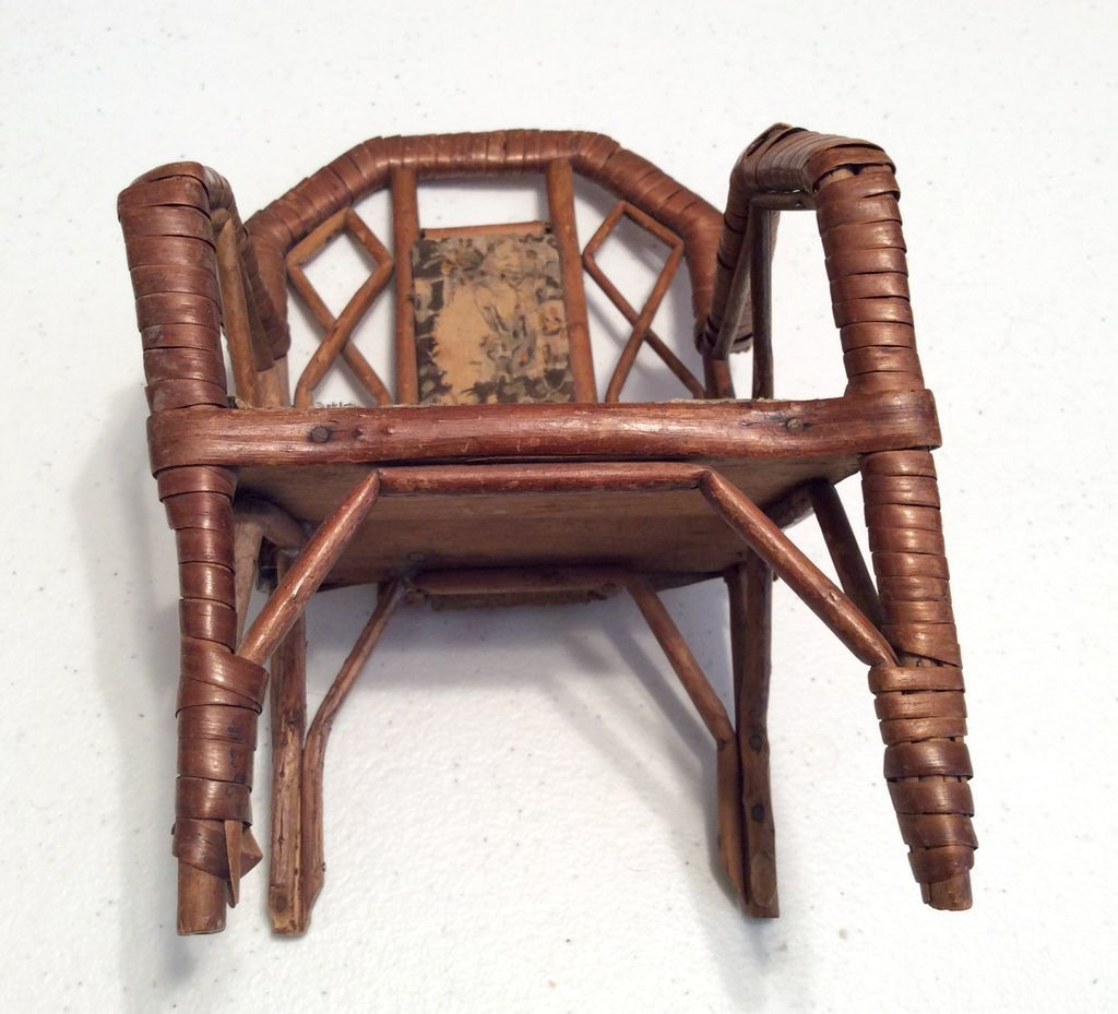 Marvelous photograph of Antique Wicker and Wood Doll Chair from dollsandsmalls on Ruby Lane with #8D583E color and 1024x929 pixels